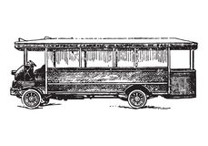 Vintage bus. Vector engraving of vintage bus or autobus Stock Images
