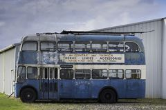 Vintage bus at yard stock images