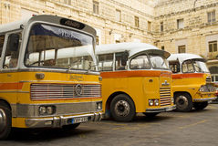 Vintage buses in valetta malta. Vintage british buses in valetta malta Royalty Free Stock Images