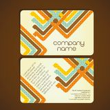 Vintage business card. With  lines formed by colored squares, vector illustration Stock Photo