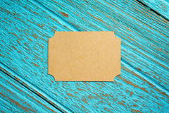 Vintage business card on wood background Stock Photo