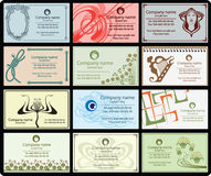 Vintage business cards. Variety of 12 horizontal business cards vintage style on different topics Stock Image