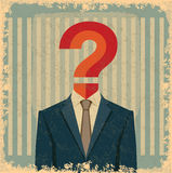 Vintage business idea with question mark Royalty Free Stock Photography