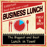 Vintage business lunch grunge poster Stock Photography