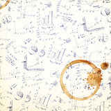 Vintage business plans coffee stained background. Royalty Free Stock Images