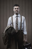 Vintage businessman posing Stock Photography