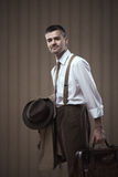 Vintage businessman posing Royalty Free Stock Image