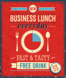 Vintage Bussiness Lunch Poster. Stock Image