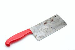 Vintage butcher meat-cleaver on the white background. Old meat chopper, useful kitchen utensil stock images