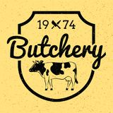 Vintage butcher shop label/badge with cow/beef Stock Photography