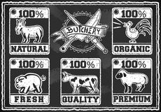 Vintage Butcher Shop Labels on a Blackboard Stock Images