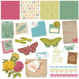 Vintage Butteflies and Flowers Stock Photos