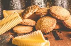 Vintage butter shortbread biscuits Royalty Free Stock Images