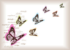 Vintage butterflies background Stock Photography
