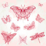 Vintage butterflies pink set Royalty Free Stock Images