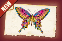 A Vintage Butterfly. Vintage paper with a butterfly graphic vector illustration