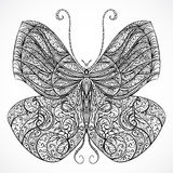 Vintage butterfly with floral abstract ornament. Black and white vector Stock Photo