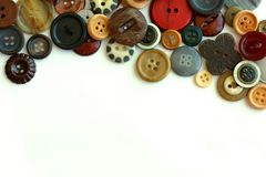 Vintage Button Collection Bordering White Background Royalty Free Stock Images