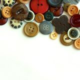 Vintage Button Collection Framing White Background Stock Image