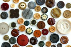 Vintage Button Collection Isolated on White royalty free stock photography