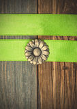 Vintage button flower and two green tapes Royalty Free Stock Photography