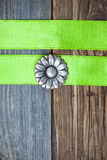 Vintage button flower and two green tapes Stock Photo