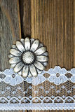 Vintage button and lace tape on old wooden surface Royalty Free Stock Photography