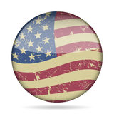 Vintage Button Waving Flag Of USA - Grunge Style Royalty Free Stock Photography