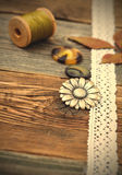 Vintage buttons with lace tape Royalty Free Stock Photo