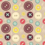 Vintage buttons sew seamless pattern Stock Photos