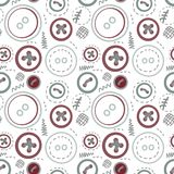 Vintage buttons sew seamless pattern Stock Image