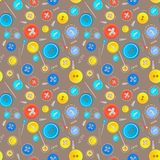 Vintage buttons sew seamless pattern Royalty Free Stock Photo