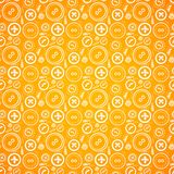 Vintage buttons sew seamless pattern in orange Stock Photos