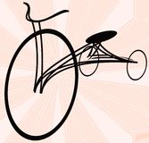 Vintage bycicle. Silhouette, stylized drawing Stock Image