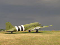 Vintage C-47 military transport aircraft. Vintage C-47 Dakota American military transport aircraft, like those used on World War two for towing gliders and Royalty Free Stock Images