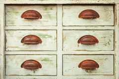 Vintage cabinet with six drawers Royalty Free Stock Images