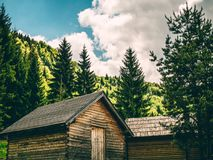 Vintage Cabins in the Woods. Near city of Sarajevo in Bosnia and Herzegovina stock images