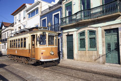 Vintage cable car and houses in Porto Stock Photography
