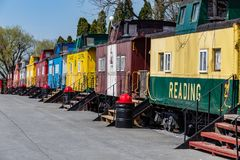 Vintage Cabooses Used as Lodging at Red Caboose Motel Stock Image