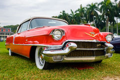 Vintage Cadillac Automobile. Miami, FL USA - March 12, 2017: Close up view of a beautifully restored vintage 1956 Cadillac Series 62 convertible automobile at a Royalty Free Stock Photos