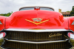 Vintage Cadillac Automobile. Miami, FL USA - March 12, 2017: Close up view of the front end of a beautifully restored vintage 1956 Cadillac Series 62 convertible Royalty Free Stock Photography