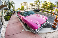 Vintage Cadillac at the Ocean Drive in South Miami Stock Image
