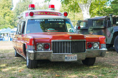Vintage Cadillac police ambulance car on display Stock Photo