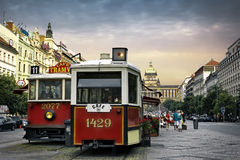 Vintage cafe in old tram, Prague. PRAGUE, CZECH REPUBLIC - JUNE 11, 2014: Vintage cafe in old tram on Wenceslas Square, one of the main city squares, New Town of Royalty Free Stock Images