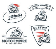 Vintage cafe racer motorcycle logo, badges and emblems. Stock Photos