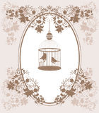 Vintage cage. Vintage background with flowers and birds in cage Royalty Free Stock Photos