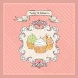 Vintage Cakes Background. Retro Bakery Label. Sweets and Dessert. Cakes Background. Retro Bakery Label. Sweets and Desserts Menu. Vector Poster royalty free illustration