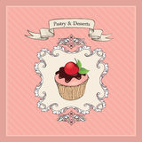 Vintage Cakes Banner.  Sweets Retro Label. Sweets and Desser Stock Images