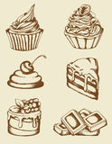 Vintage cakes and chocolate Royalty Free Stock Image