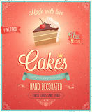 Vintage Cakes Poster. stock illustration